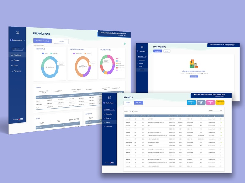 Dashboard - Administración de eventos ux web ui