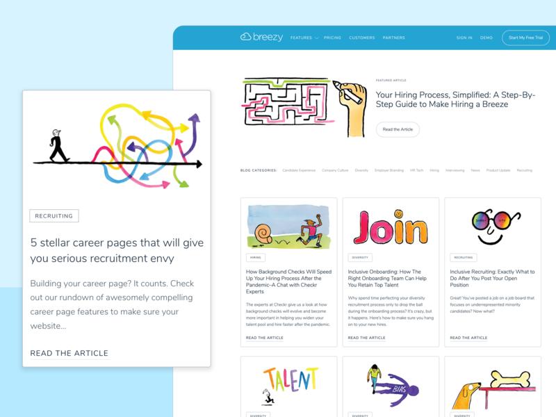 Branded Blog Design ux typography illustration blog web ui branding layout design website