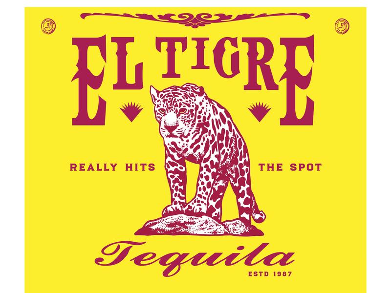 El Tigre Tequila II: Electric Boogaloo label jaguar alcohol branding alcohol liquor tequila typography illustration graphic design branding design logo