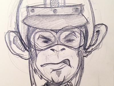 Racer Monkey illustration sketch pencil monkey