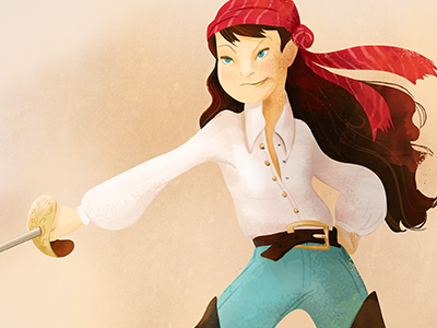 The pirate girl is finally finished. pirate girl character design illustration