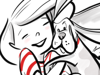A Girl and Her Dog illustration black and white character design