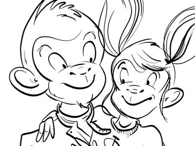 Two Monkeys monkey black and white illustration