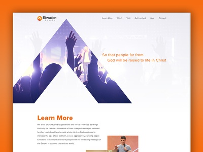 Just for fun elevation church web design ui ux psd photoshop mockup landing page