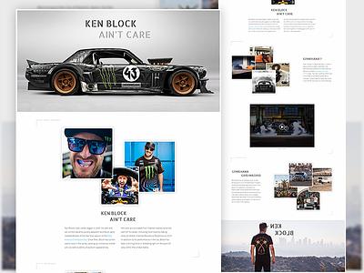 Ken Block Ain't Care - Concept web design mockup photoshop drift web ken block hoonigan psd