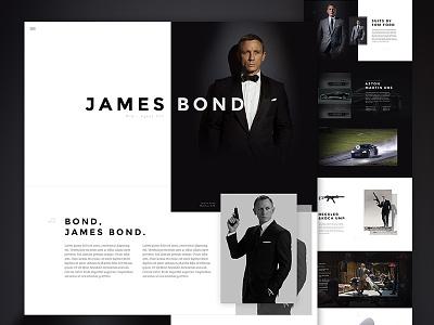 Agent 007 Concept - Full web design mockup photoshop bond 007 clean single page web psd