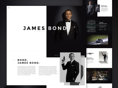 Agent 007 Concept - Full web design mockup photoshop bond 007 clean single page web psd