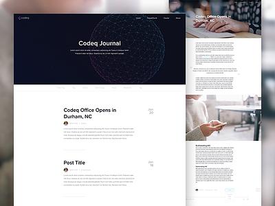 The Codeq Journal blog journal wordpress web design design codeq minimal hero web