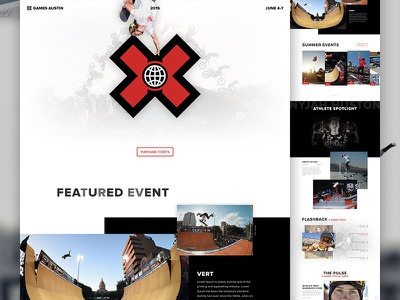 X Games Austin Concept - Full Pixels web web design photoshop psd x games design ui one page