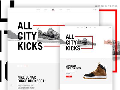 ACK Concept ecommerce type whitespace grid e-commerce ui kicks sneakers psd web design