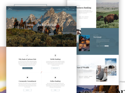 Bank of Jackson Hole grid clean hero parallax banking outdoors typography layout design web