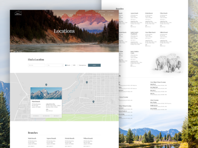 Bank of Jackson Hole Locations buffalo grid clean hero parallax banking outdoors typography layout design web