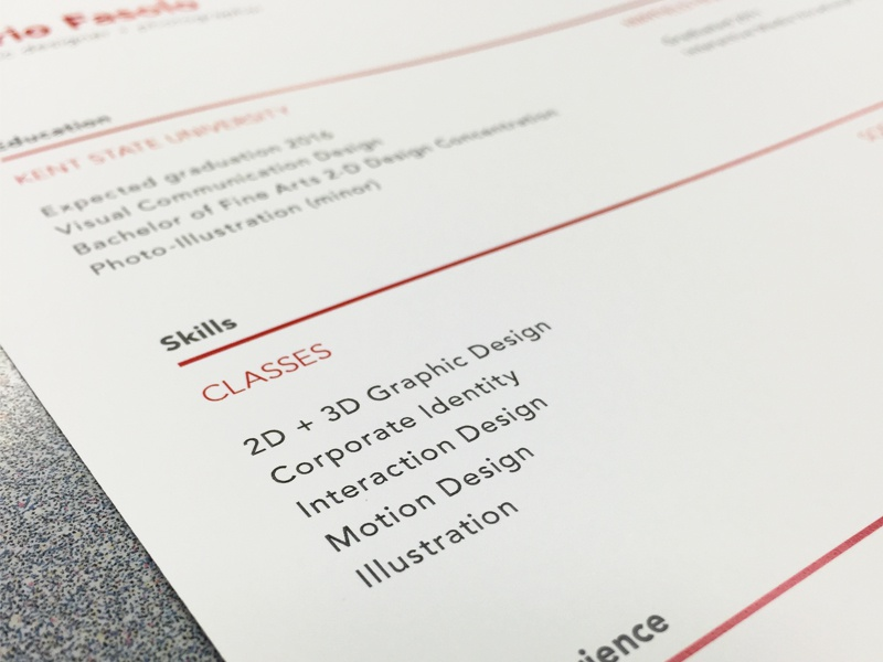 Resume Preview resume form typography avenir type red