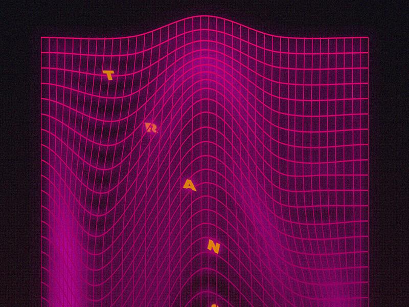 TRANSISTOR grid vaporwave effects 3d type