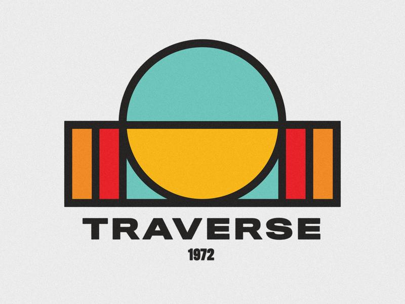 TRAVERSE thick lines typography outdoor badge outdoor logo retro colors patagonia outdoor vintage logo vintage logotype identity icon logo