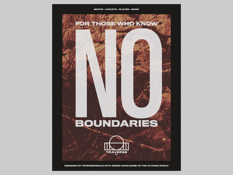 TRAVERSE — NO BOUNDARIES flyer advertisement collateral retro vintage typographic poster typography type