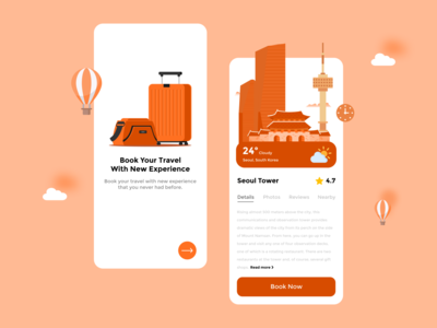 Travel App minimalist minimal booking city travel ux ui design app