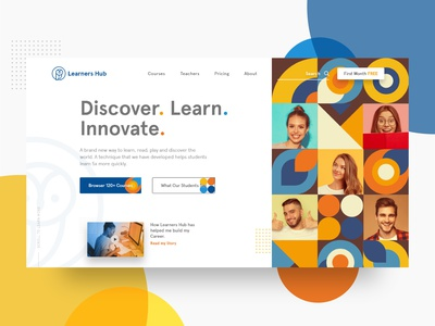 Learners Hub | Hero Section app learning app learning platform design explore concept online course tutors students elearning education responsive creative xd colorful uxui