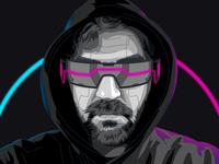 Cyberpunk Portrait with Futuristic Glasses