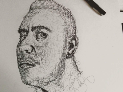 Scribble Portrait in ink