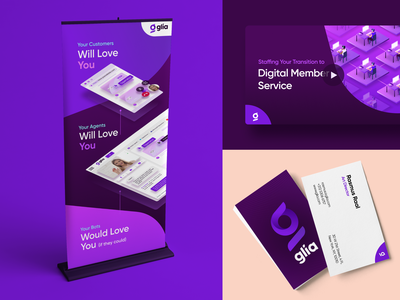 Glia's online and offline assets cover art rollup business card branding glia cx rebranding brand identity