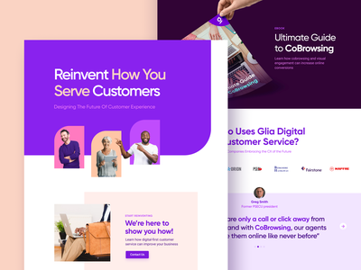 Website drafts ebook customer experience cobrowsing website web ui glia cx brand identity