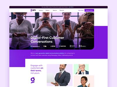 Glia.com glia cx branding ux homepage web design website web design ui