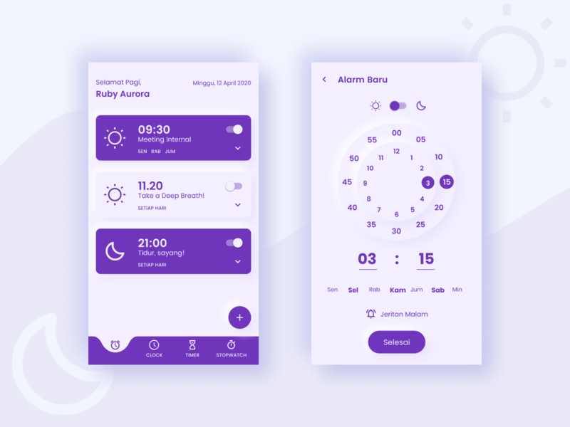 Mobile Alarm in Bahasa ux ui design app