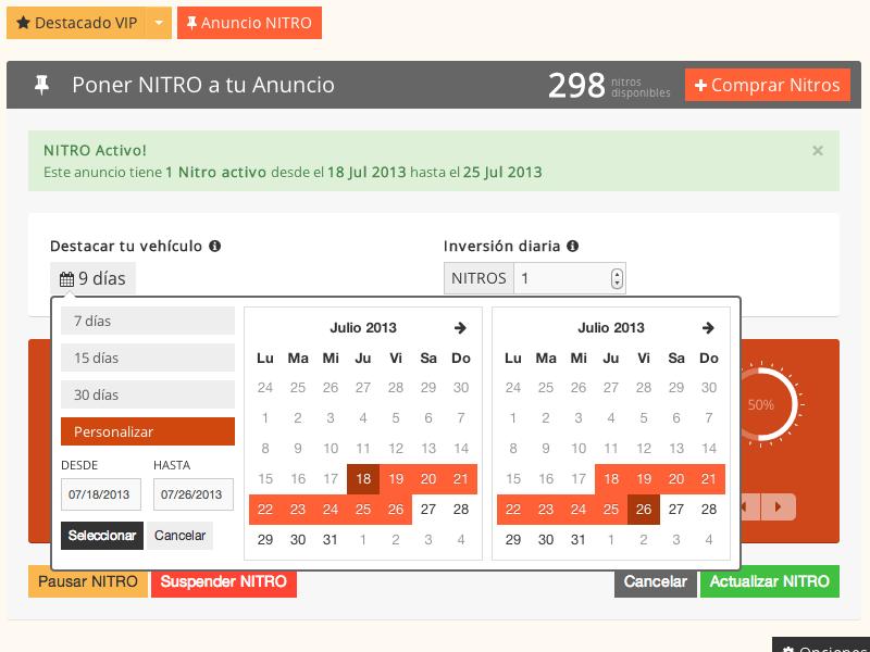 NITRO UI calendar flat ui credits higlight bidding featured impressions