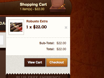 Cigar Cave Shopping Cart shopping cart buttons e-commce checkout cigars wood cigar