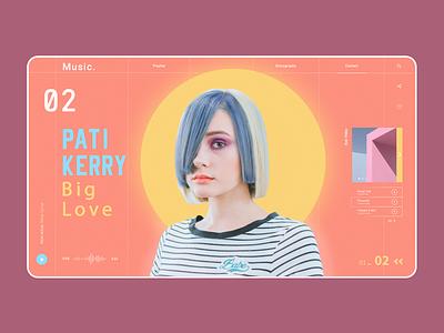 Music Landing Page - concept pastel colours girl spotify punk minimalism hero image music hero music website ui branding webdesign iconography design minimal typography graphic design concept design web web app