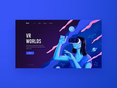 VR -  concept design landing page hero image virtual reality cyberpunk web  design woman illustration ui technology galaxy future branding fintech vr web app web website illustration typography graphic design concept design