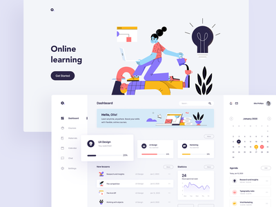 E-learning Dashboard - concept design e-learning online courses education ecommerce simple design ux design branding ux illustration iconography dashboard design dashboard ui dashboad minimal graphic design web website concept design