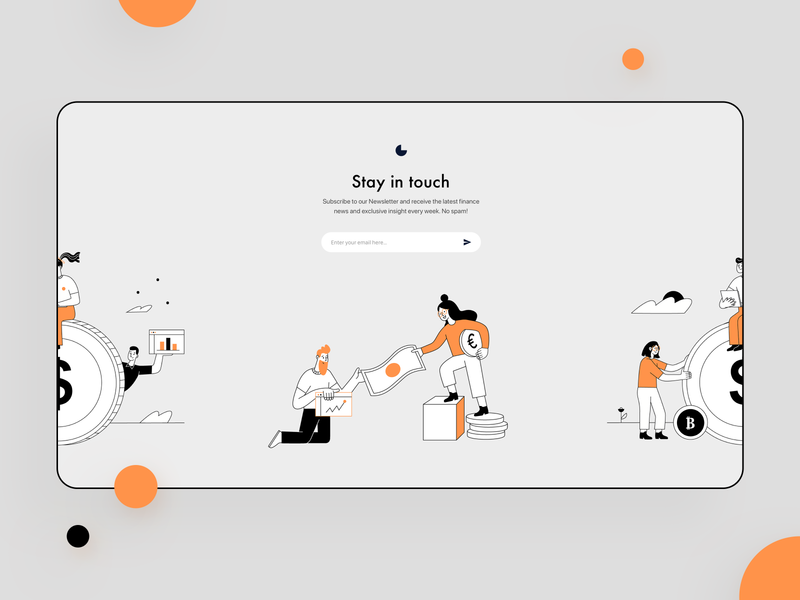 Newsletter Fintech - concept design web design simple design simple illustration simple color hero image financial app newsletter graphic design sketch vector typography minimal design illustraion fintech finance web website