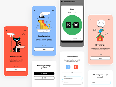 Pets app - concept design mobile mobile app pets illustrations retro design colors simple design app design healthcare animals pet care graphic design ux vector branding ui illustration typography minimal concept design