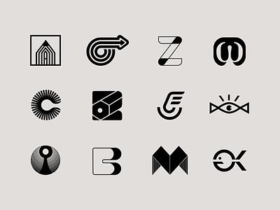 Symbols - concept design minimalistic logo black and white brand symbols symbol design marks mark logos logo mark logo designs logofolio logo design letter mark letter mark logo lettermark brand design branding