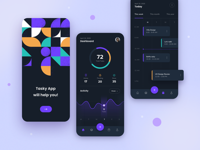 TaskyApp  - concept design interface mobileui mobile application mobile app design mobile app dark theme ui design app design geometric ui concept design task application app