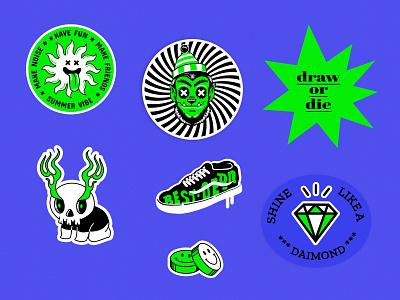 Stickers for summer 😃 branding minimal graphic design budges summer stickers stickers vector design typography illustration concept design