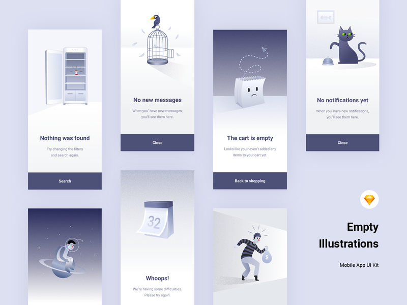 Empty States Illustrations - freebie empty states business animals fintech calendar sketch gradients minimal material design android ios windows phone iphone freebies animation web design mobile app illustration concept design graphic design