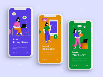 Investment App Onboarding - concept business minimal interaction design onboarding ui onboarding screen investment app investment user interface mobile app graphic design ios android design concept design financial fintech onboarding fintech app fintech ui illustration