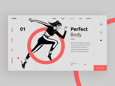 Perfect Body website - concept simple design animation healthy woman web icon design run branding design typography gym sketch fit minimal hero image fitness responsive design website web design design concept design