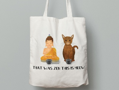 Canvas Tote Bag Illustration zen and meow cat zen tote bag design illustration communication design