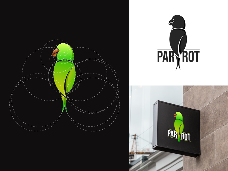 Parrot Logo illustration flat symbol golden ratio logo branding lettermark monogram golden ratio business logo icon minimal logo