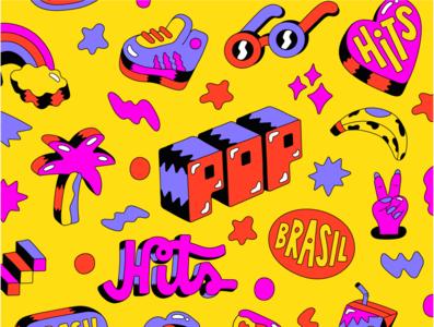 Apple Music Pop Hits Brasil illustration lettering apple music apple music