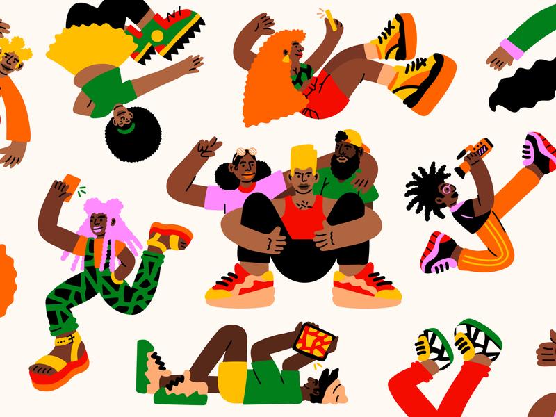 YouTube Black Header illustration black black people youtube