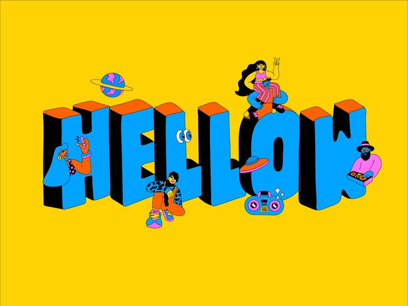 Hellow Festival 2020 type illustration brazil logotype lettering