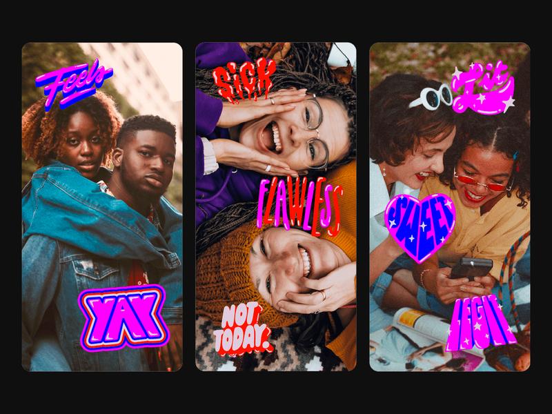 Snapchat Sticker Set snapchat illustration type typography lettering art lettering