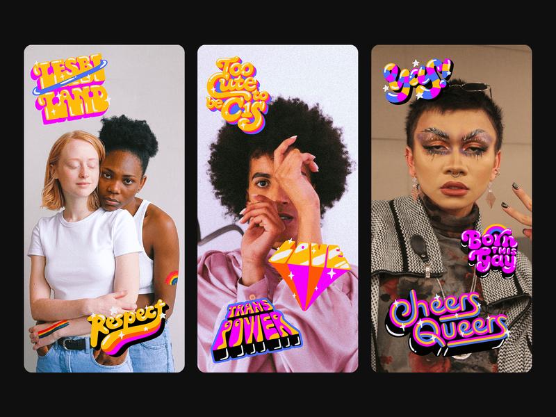 Snapchat Pride illustration pride month trans bissexual lesbian gay lgbt proud pride lettering