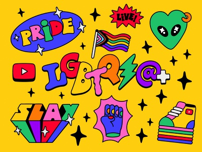YouTube Pride Dinners stickers illustration lettering pride youtube