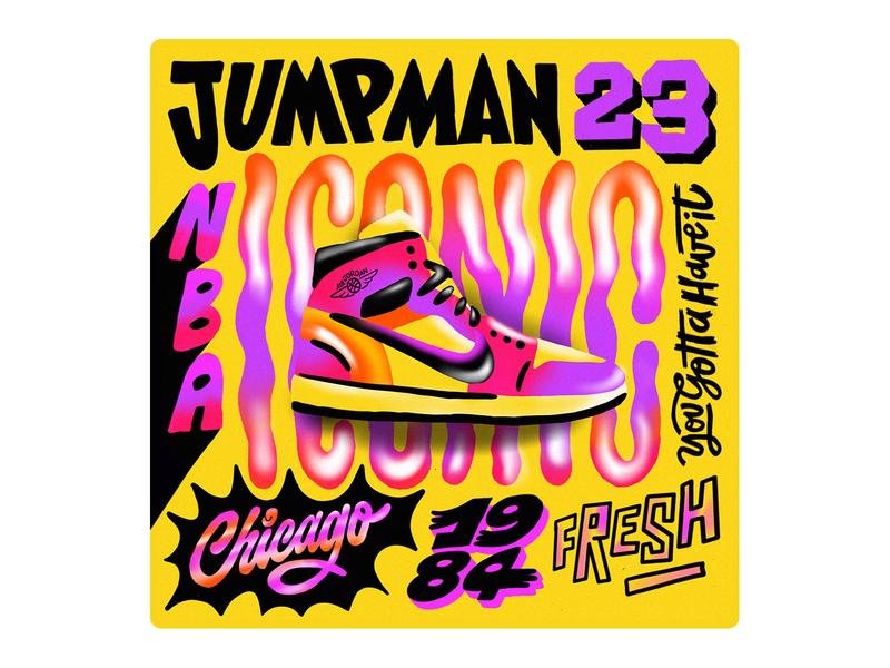 Jumpman nba chicago iconic nike michael jordan typography lettering jumpman